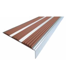 Алюминиевый угол с 3 вставками 98 мм коричневый 1,33м