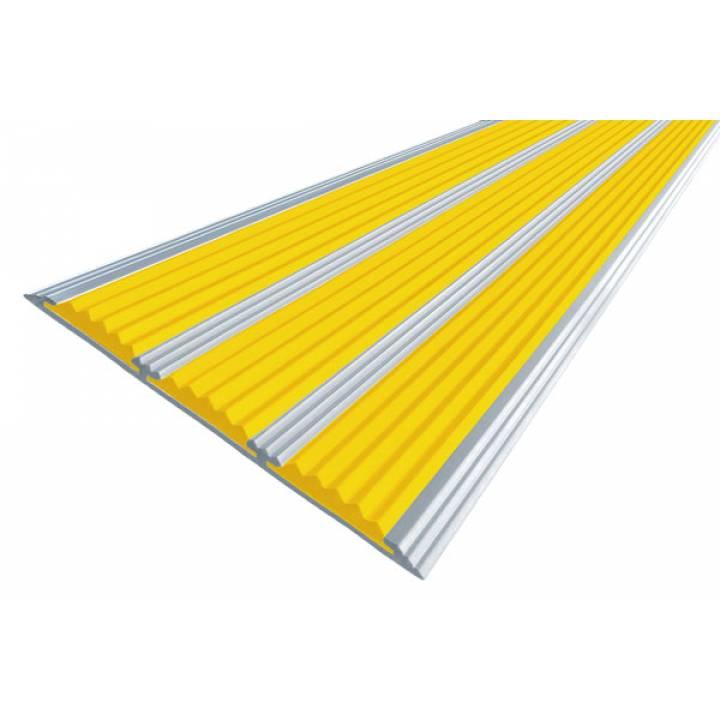 Алюминиевая полоса с 3 вставками 100 мм желтый 2м