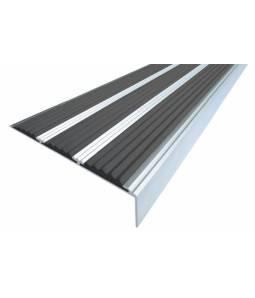 Алюминиевый угол с 3 вставками 98 мм черный 1м