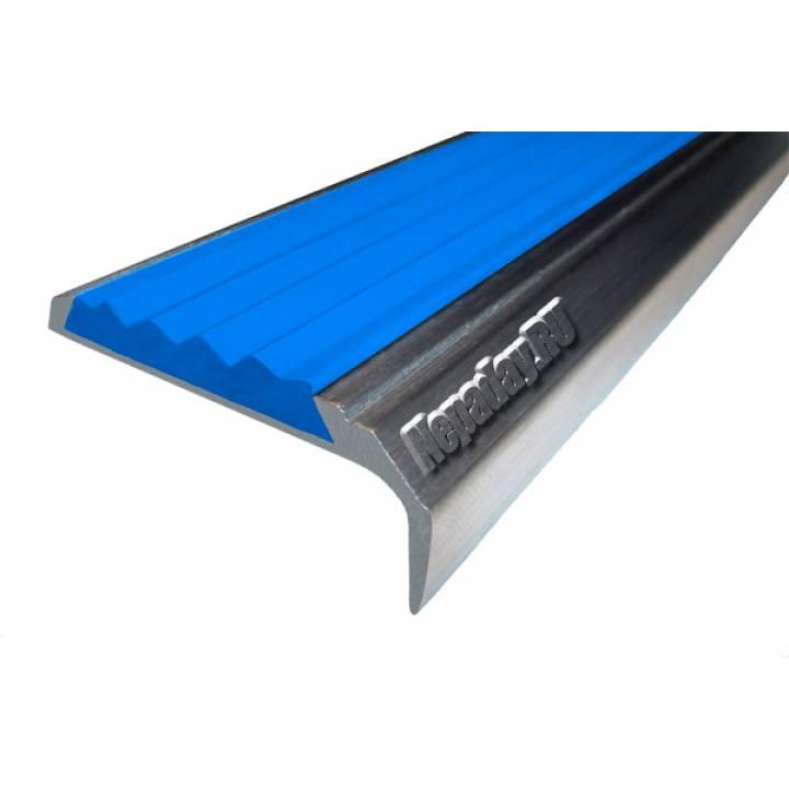Алюминиевый угол с 1 вставкой 42 мм синий 1м