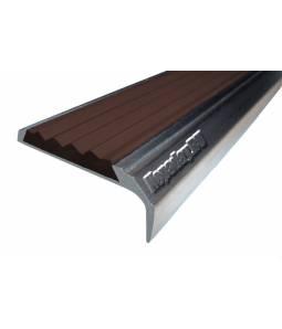 Алюминиевый угол с 1 вставкой 42 мм тем-коричневый 1м