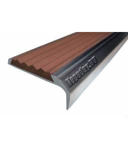 Алюминиевый угол с 1 вставкой 42 мм коричневый 3м