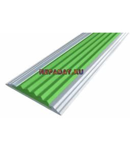 Анодированная полоса с 1 вставкой 40 мм зеленый 2,7м
