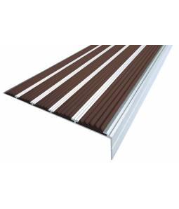 Алюминиевый угол c 5 вставками 160 мм тем-коричневый 3м