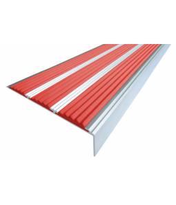 Алюминиевый угол с 3 вставками 98 мм красный 2м